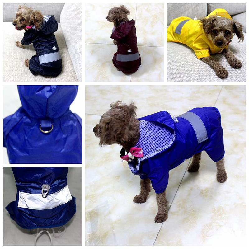 Double Layers Outdoor Puppy Pet Rain Coat S-XL Hoody Waterproof Jackets Reflective Raincoat for Dogs Cats Apparel Clothes