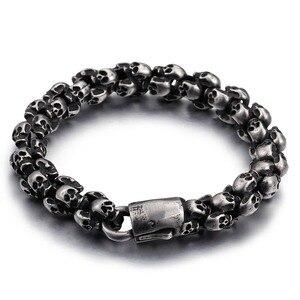 Image 3 - KALEN Punk Skull Bracelets Men Stainless Steel Shiny Matte Skull Charm Link Chain Brecelets Male Gothic Jewelry 2020
