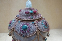 Непал Буддизм Серебряный декор Рубин берилл драгоценный камень хрустальная банка глиняный горшок ваза Водолей 8,02