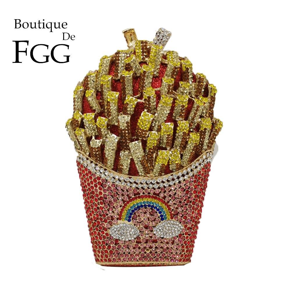 Boutique De FGG Designer French Fries Chips Clutch Women Crystal Evening Minaudiere Bag Diamond Wedding Handbag