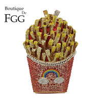 Boutique De FGG Designer French Fries Chips Clutch Women Crystal Evening Minaudiere Bag Diamond Wedding Handbag Bridal Purse