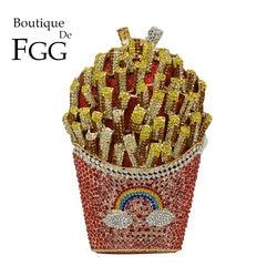 Boutique De FGG Französisch Frites Chips Regenbogen Kupplung Schminktäschchen Tasche Frauen Kristall Abend Tasche Diamant Hochzeit Handtasche Braut Handtasche