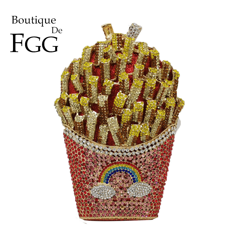 Boutique De FGG French Fries Chips Rainbow Clutch Minaudiere Bag Women Crystal Evening Bag Diamond Wedding Handbag Bridal Purse