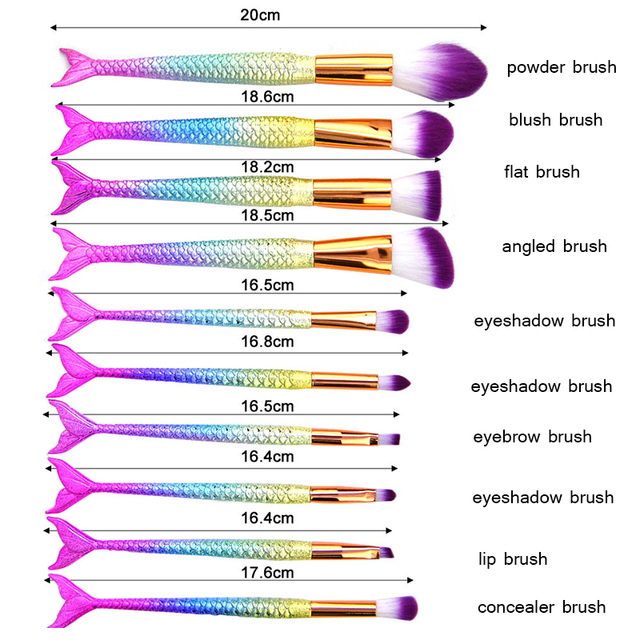 11pcs Mermaid Makeup Brushes Foundation Eyeliner Concealer Brushes Fish Tail Cosmetic brochas maquillaje Make up Brushes 2