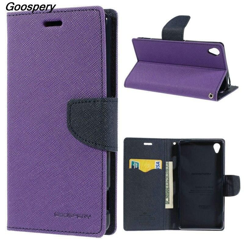 Mercury GOOSPERY Fancy Diary Wallet Leather Case for Sony Xperia C C3 Case for Sony M2 X Z Z1 Compact Z2 Z3 Z5 Mini L36h L39h