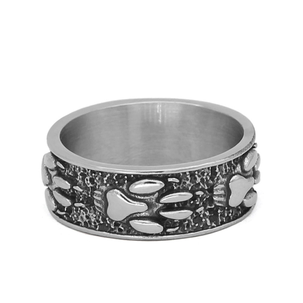 Men Nordic norse Viking wolf paw vantage ring stainless steel jewlery with valknut gift bag
