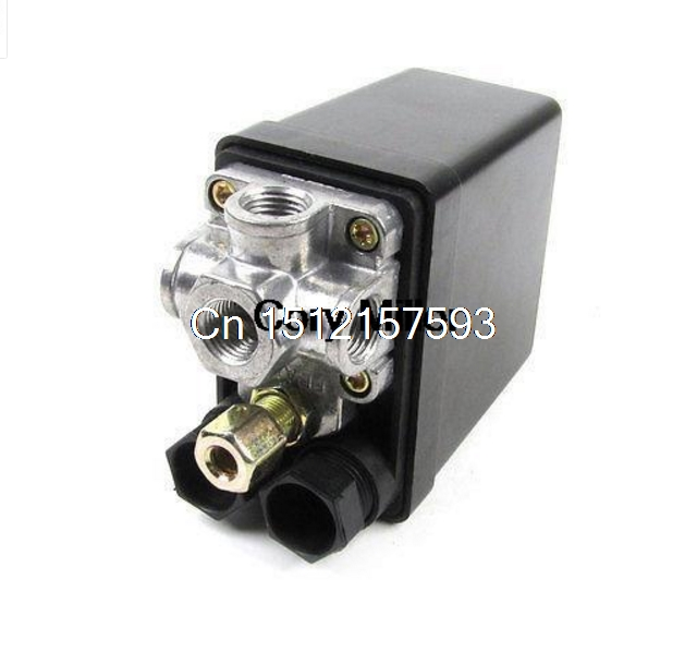 175PSI 12Bar 4 Port 1/4 NPT Air Compressor Pump Pressure Switch Control Valve heavy duty air compressor pressure control switch valve 90 120psi 12 bar 20a ac220v 4 port 12 5 x 8 x 5cm promotion price
