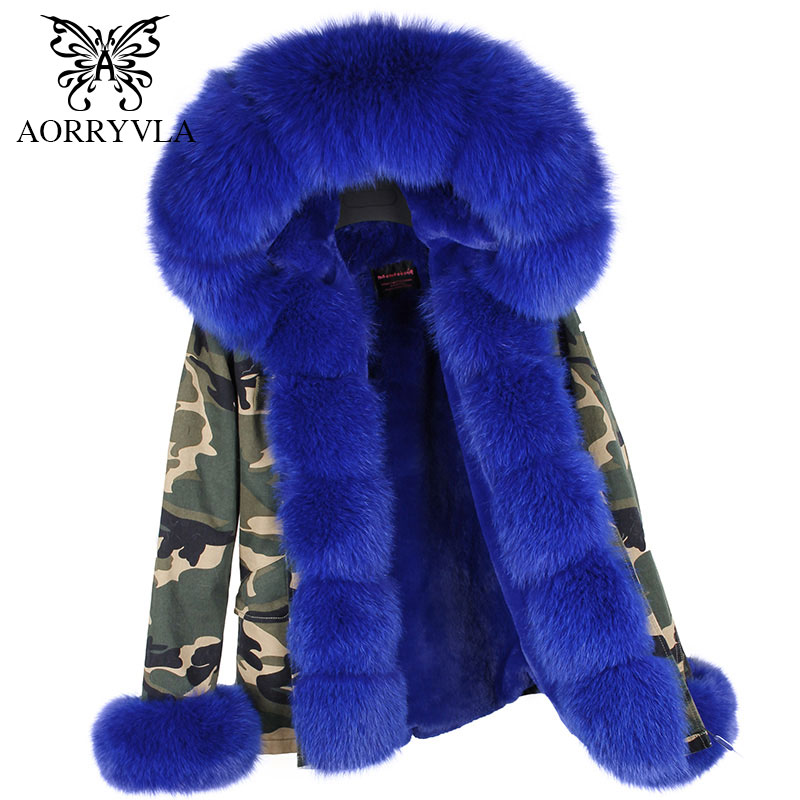 AORRYVLA 2017 New Winter Fur Collar Jacket Women Short Luxury Fox Fur Hooded   Parka   With Detachable Faux Fur Liner Hot Sale