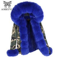 AORRYVLA 2017 New Winter Fur Collar Jacket Women Short Luxury Fox Fur Hooded Parka With Detachable