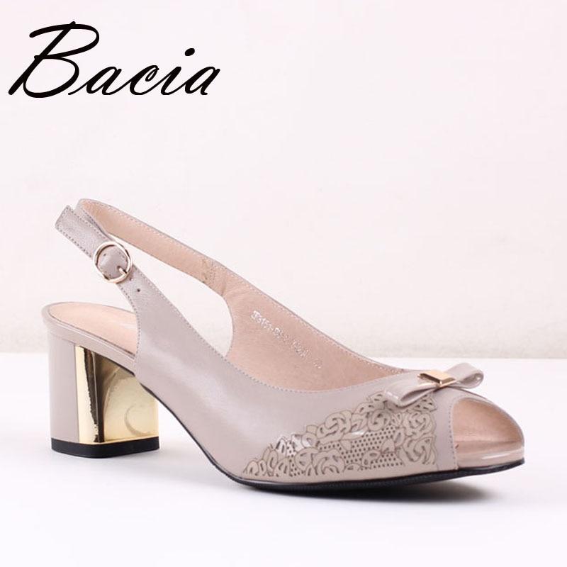ФОТО Bacia New Khaki Sheep Skin Sandals With Bow Knot thick heels comfortable shoes High Quality Handmade Pumps Size 35-41 SA026