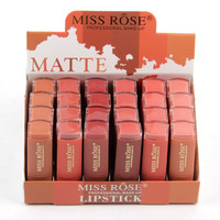24pcs/lot Brand Miss Rose Natural Matte Lipsticks For Women Waterproof Long Lasting Moisturizing Lipstick Makeup Cosmetics
