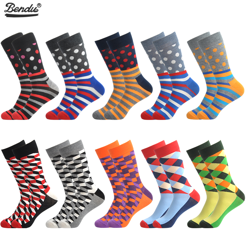 BENDU 10 Pairs/Lot Men's   Socks   Fashion Funny Colorful Long   Socks   Combed Cotton Happy Wedding   Socks   Casual Business Dress   Sock