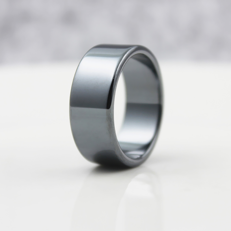 Fashion Jewelry Grade AAA Quality smooth 10mm Width Flat Hematite Rings (1 Piece)  HR1009