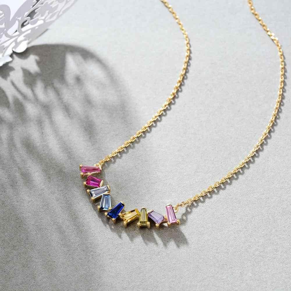 E biżuteria 925 srebro Rainbow wisiorek naszyjniki dla kobiet dziewczynki 14K pozłacane kolorowe Chokers srebro 925 moda 2019