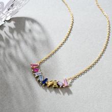 E multicolorido quadrado cz corrente colar para mulher real 925 prata esterlina artesanal jóias finas 14k banhado a ouro arco íris colares