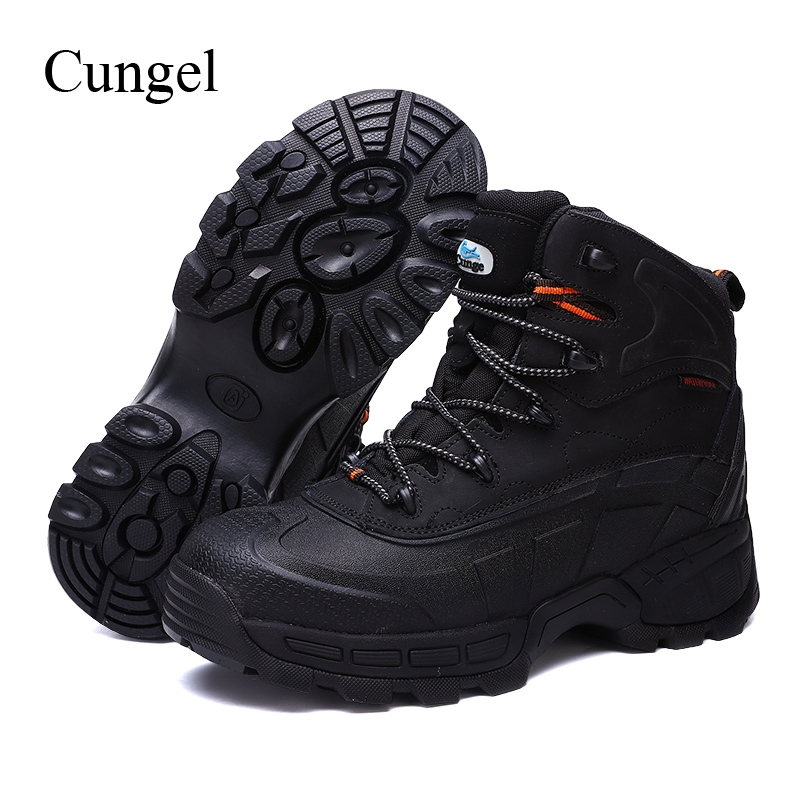 Cungel New Hot Sale Men Steel toe cap Safety shoes High quality Leather Work boots Outdoor Hiking Military Combat