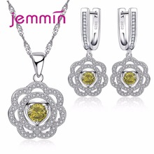 Jemmin Retro Women Flower Pendants Necklaces And Earrings Set For Anniversary Accessory 925 Sterling Silver Wedding Jewelry Sets