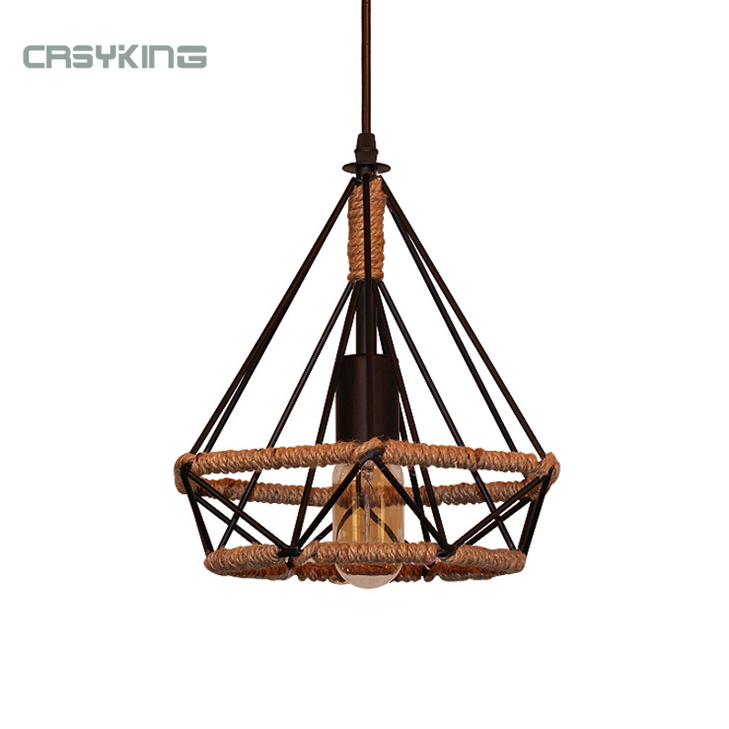 Vintage Pendant Light Black Iron Lamp Russia Loft Cage Shape Hemp Rope Light For Dining Bedroom With E27 Edison Lamp Holder