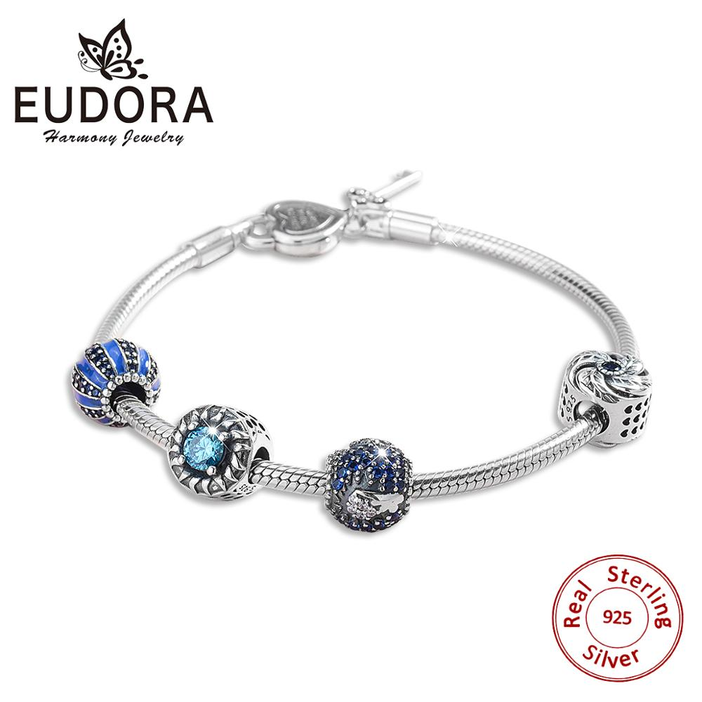 EUDORA 925 Bracelets en argent Sterling avec clé en forme de coeur Bracelets scintillants soleil et ciel bleu océan Bracelet et Bracelets pour femmes bijoux