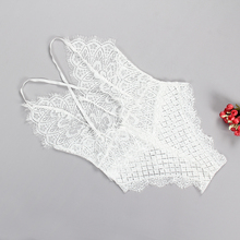 Cut Out Lace Bodysuits Solid Body Top Romper 2018 Women Jumpsuits V Neck Sexy Overall Feminino Beach Summer Playsuit White GV629