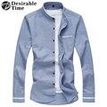 Мандарин Воротник Мужчины С Длинным Рукавом Повседневная Рубашка Плюс Размер М-7XL 2017 Весенняя Мода Мужчины Синие Рубашки DT187