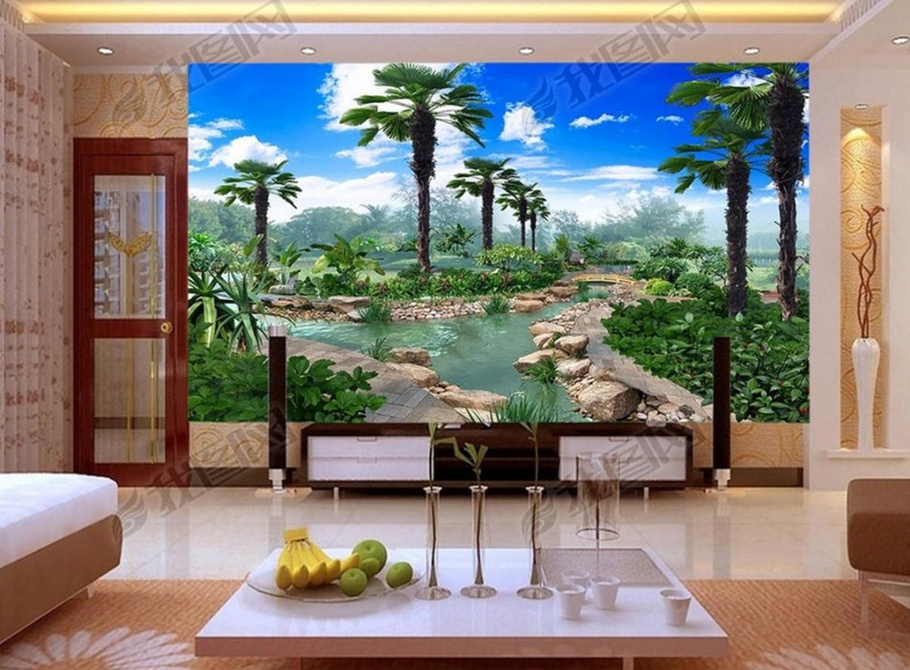 Custom 3d photo wall mural wallpapers for living room Blue sky white coconut garden TV wall landscape wallpaper mural custom wallpaper for walls 3 d photo wall mural pastoral country road tv walls 3d nature wallpapers for living room