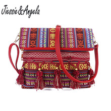 Jiessie&Angela New Canvas Women Bag National Style Crossbody Leather Handbag Tassel Messenger Bolsas