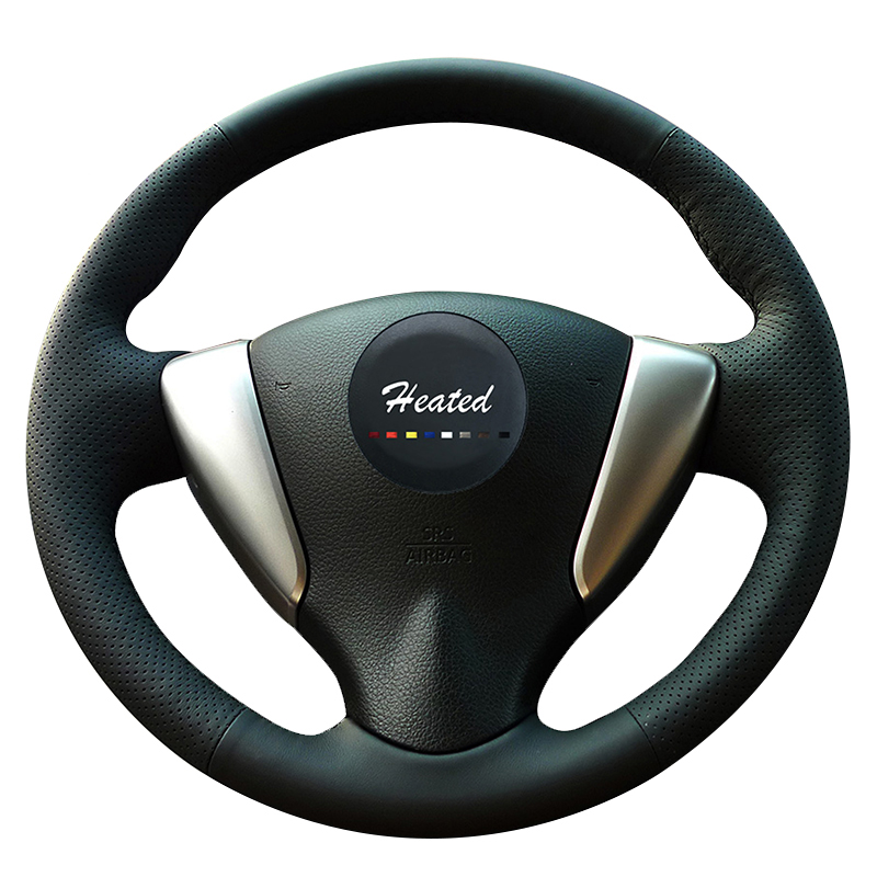 Steering wheel cover for Nissan Tiida Sylphy Sentra Versa Note 2014-2017 Microfiber leather braid on the steering wheel
