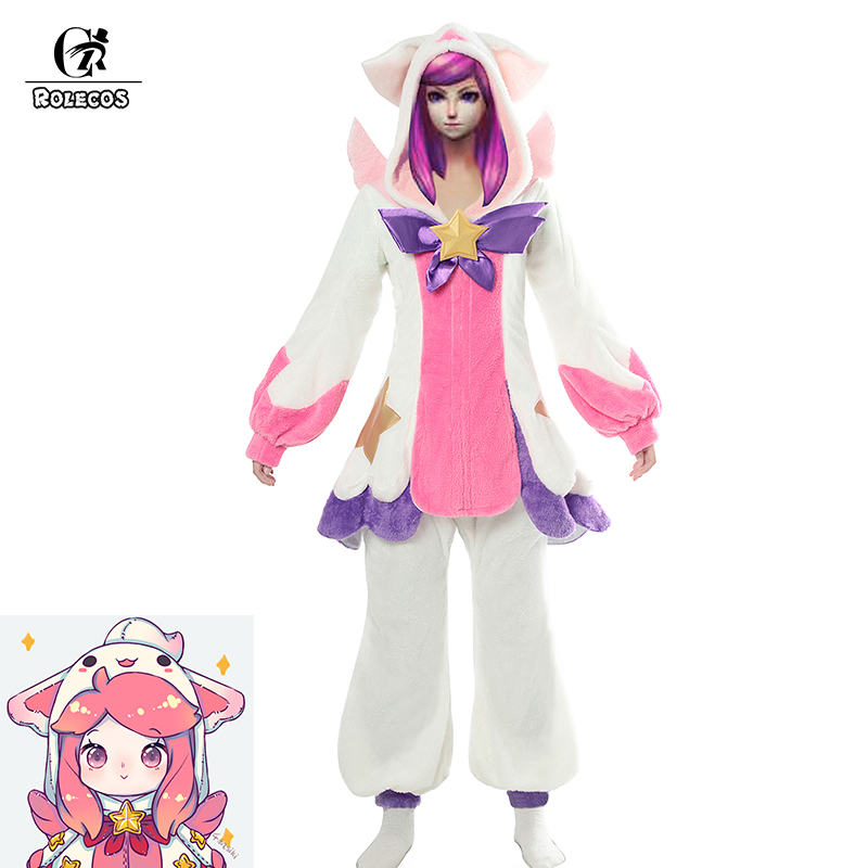 ROLECOS Game LOL Cosplay Costumes Star Guardian Lux Pajamas Guardian Pajamas Suit Costumes For Women Cosplay Costumes Sleepwear