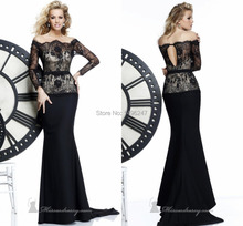 Top Fashion Graceful Appliques Lace Evening Dresses Boat Neck Off The Shoulder Long Sleeve Evening Dresses
