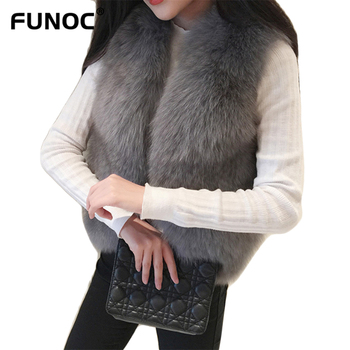 Women Faux Fox Fur Coat Vest 2018 Winter Thick Warm Sleeveless Jackets Gilet Plus Size Fluffy Fake Fur Vests Female Waistcoat