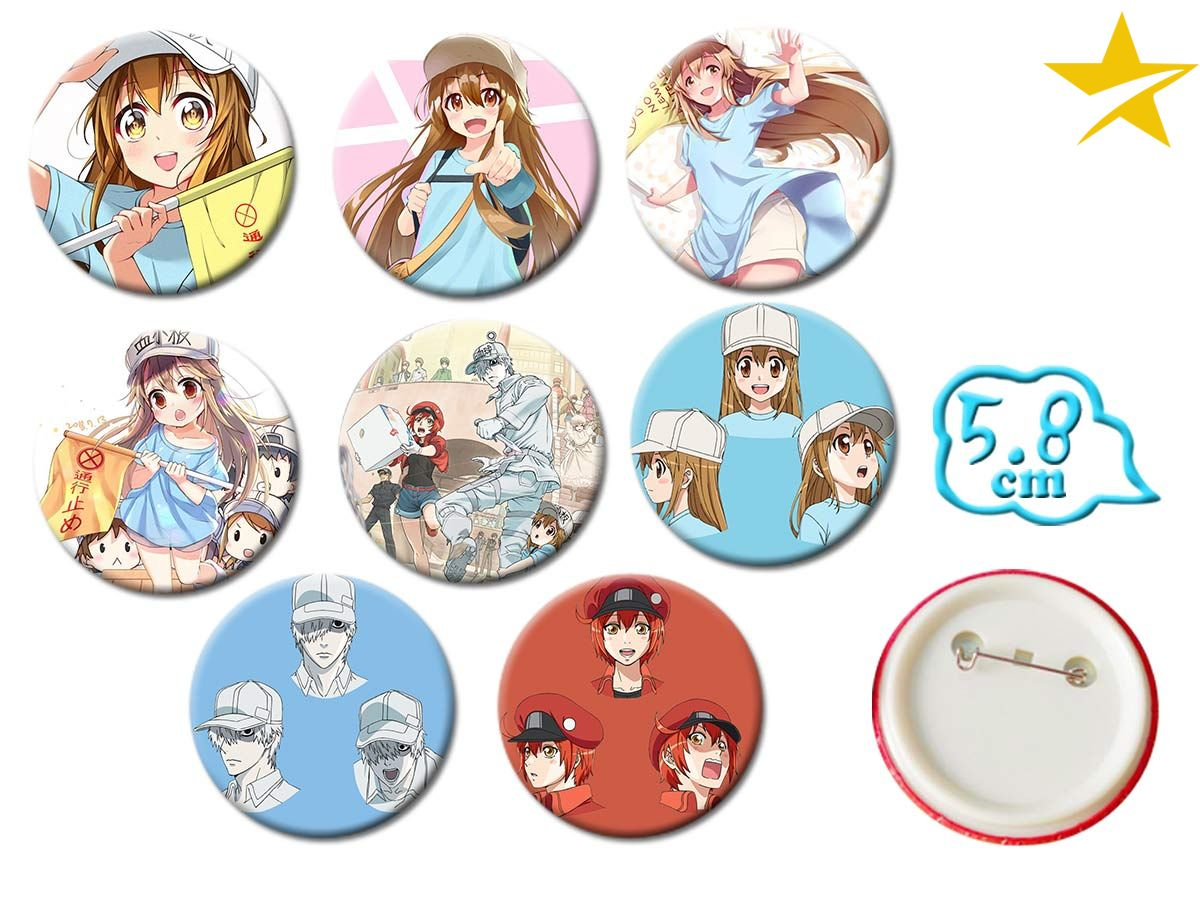 Giancomics Hot Japanese Anime Cells At Work Cosplay Badge Cartoon Platelet Pretty Brooch Pins Collection Bags Pins For Backpacks
