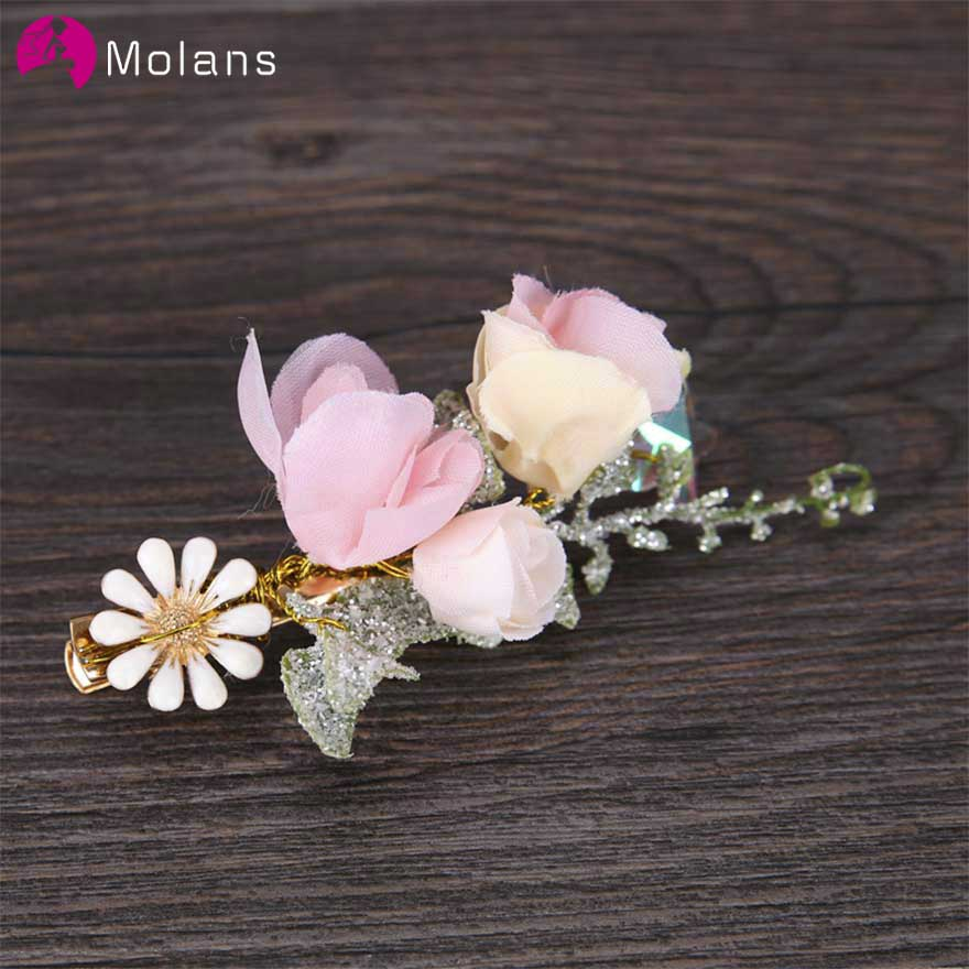 MOLANS 2020 New Style Immortal Flower Hairpins For Bridal Wedding Accessories Stimulation Sunflower Leaf Gold Alloy Hair Clips