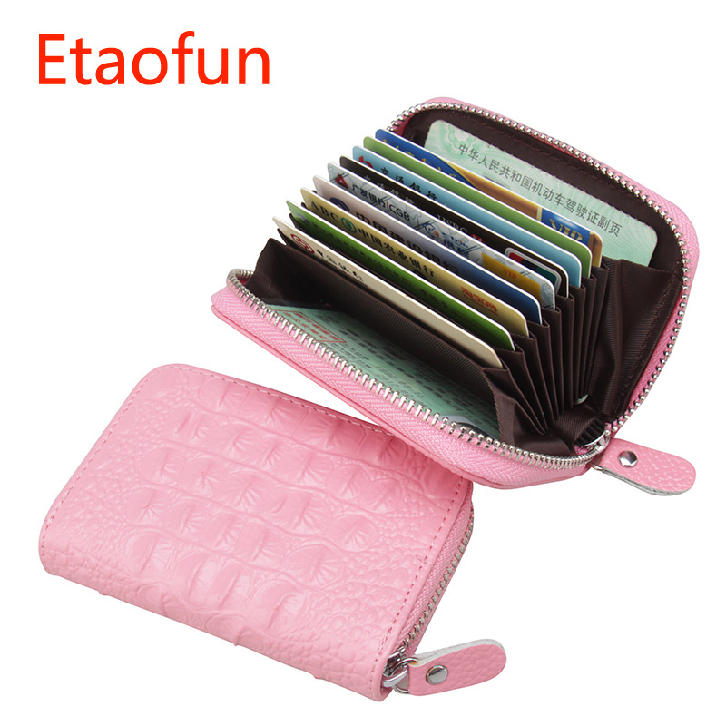Etaofun fashion Crocodile pattern Coins Purse Genuine Leather Women Cards Holder Small Zipper Pouch ID Credit Card Case Wallets