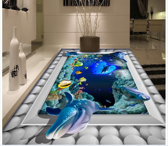 Customized 3d photo wallpaper 3d floor painting wallpaper Submarine 3D bathroom floor living room decoration book knowledge power channel creative 3d large mural wallpaper 3d bedroom living room tv backdrop painting wallpaper