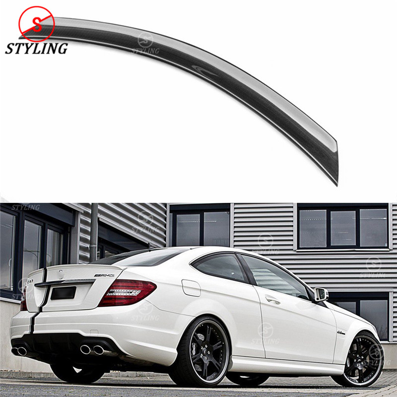 For Mercedes W204 Carbon Spoiler V Style Coupe C Class W204 Carbon Fiber rear spoiler Rear trunk wing 2-doors styling 2008- 2014 цена