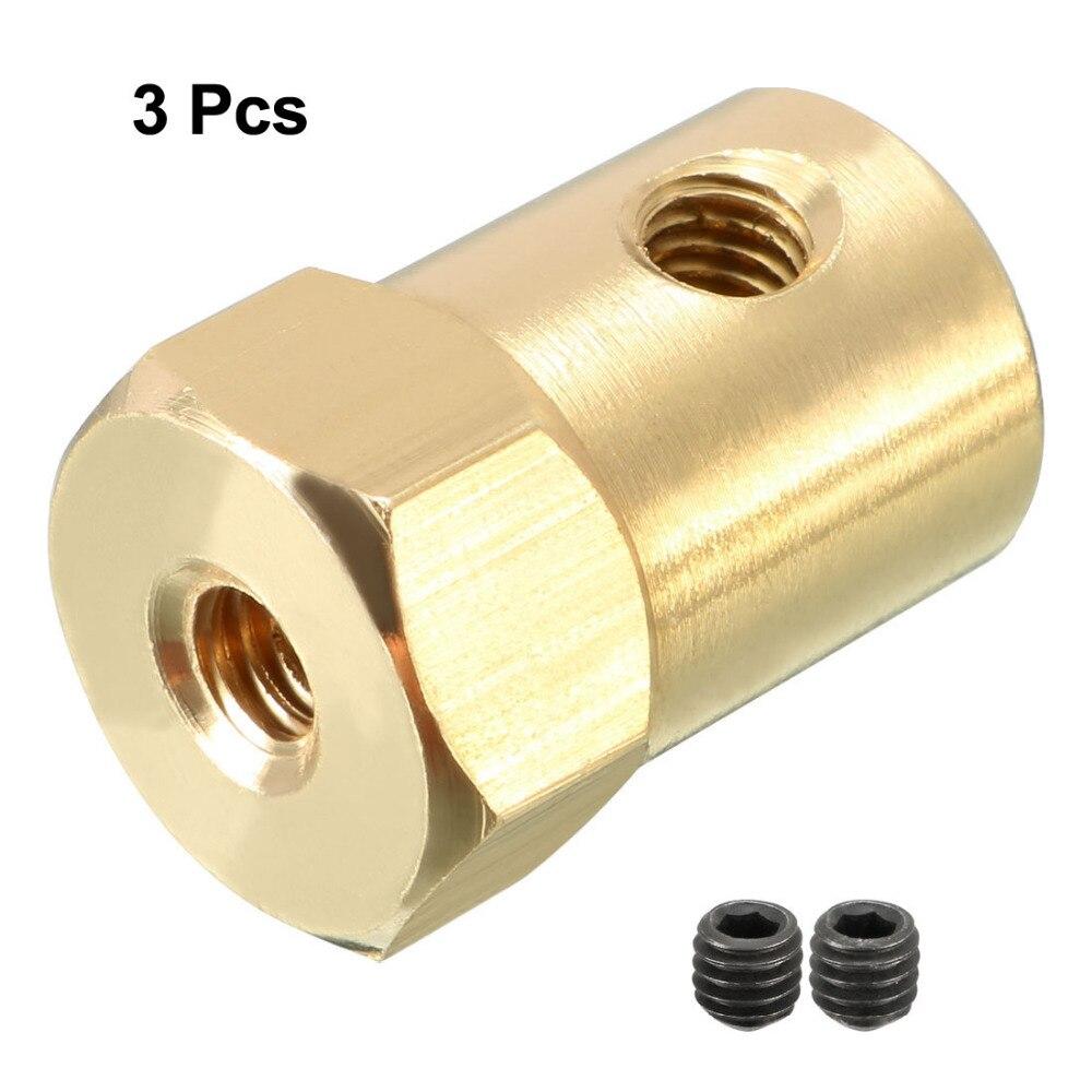 Uxcell 3 Stks 3.5mm Boring Starre As Koppeling Hexagon Coupler Connector 18mm Lengte Met Schroeven Gold Tone Voor Elektrische Auto Speelgoed