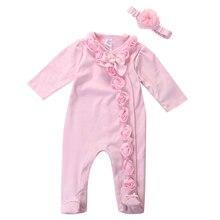 Комбинезон с цветочным рисунком для новорожденных девочек 0-7 месяцев, костюм с длинными рукавами из 2 предметов, костюм с повязкой на голову, розовый цвет