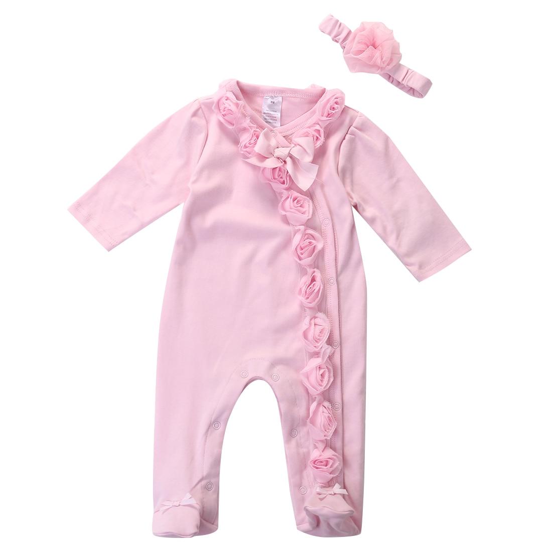Met Goed Opvoeding Pasgeboren Peuter Baby Baby Meisjes 0-7 M Bloemen Romper 2 St Lange Mouw Hoofdband Kleding Outfits Set Roze