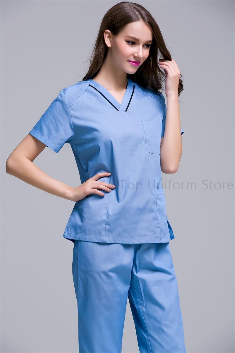 New color women hospital medical uniform scrub dental for Spa uniform policy