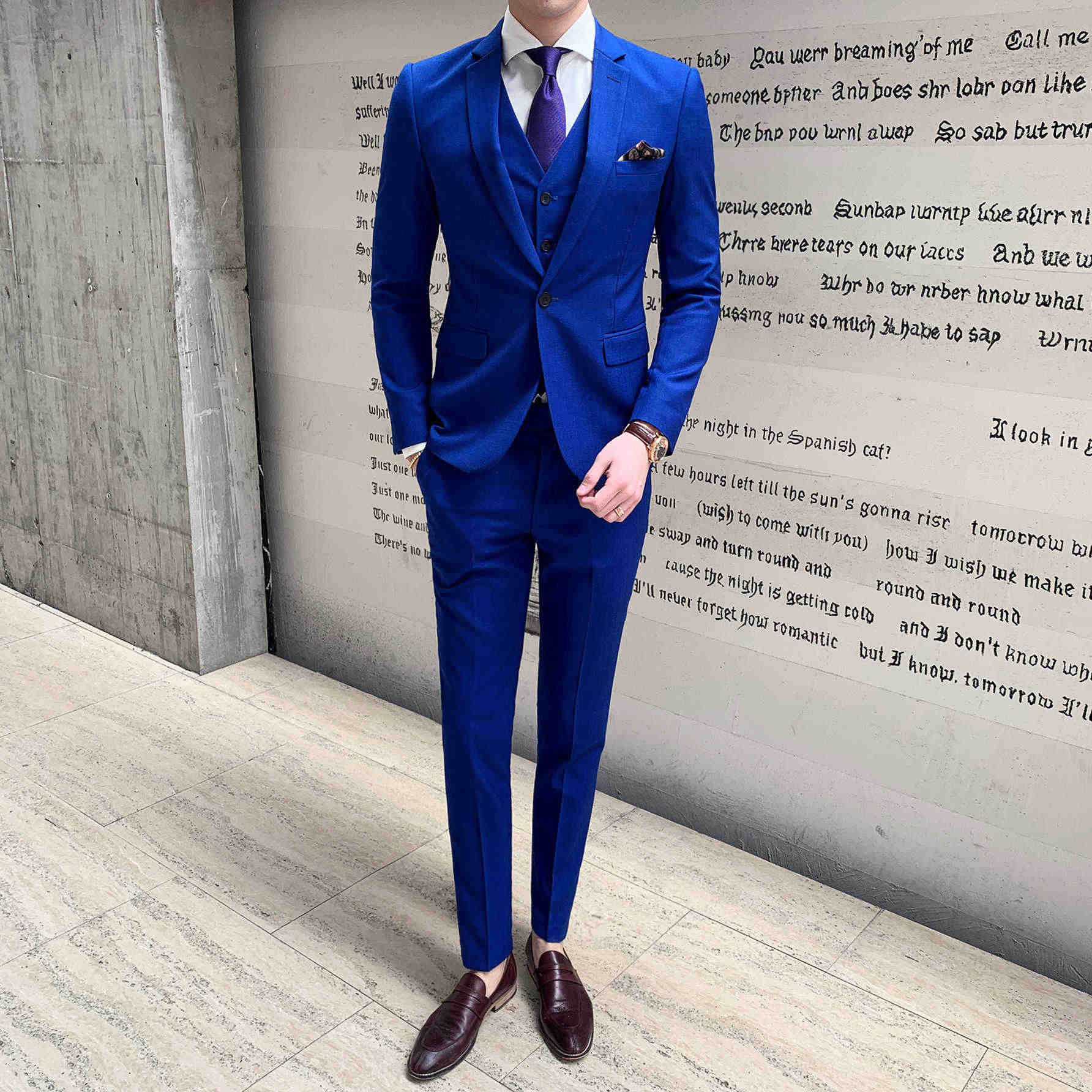 Royal Blue Blazer Men  Slim Fit Party Office Dress Suit Single Button 3pc Mens Suit Jacket Trajes Azul Hombre Smoking Uomo