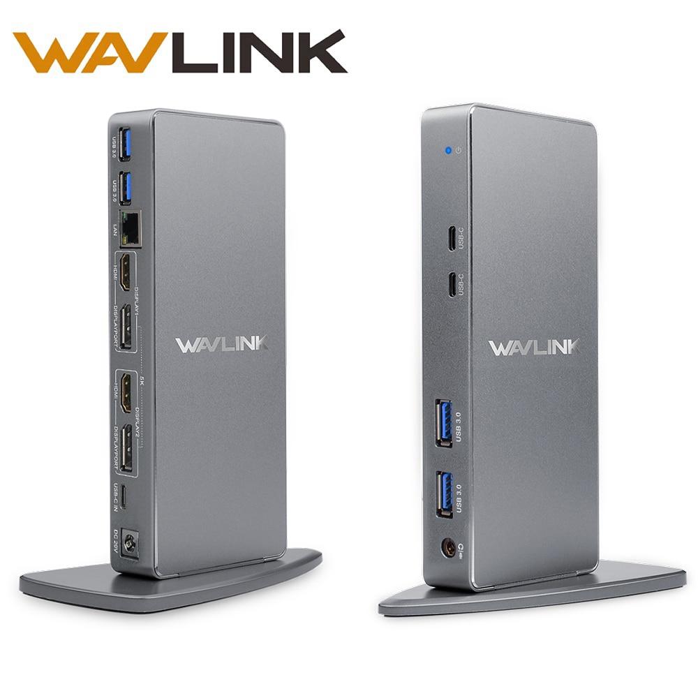 Wavlink USBC Ultra 5K Universal Docking Station HD Multiple Display Vertical Aluminum Design with HDMI Display Gigabit Type C orico u3hv s1 4 usb3 0 ports universal multi function docking station with gigabit rj45 network interface audio connector
