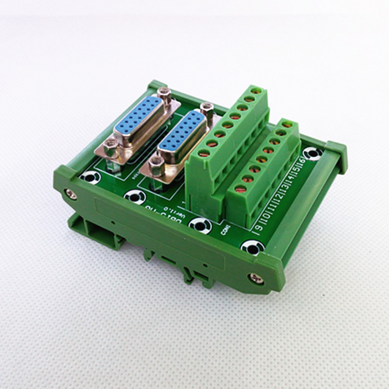 D-SUB DB15 DIN Rail Mount Interface Module, Double Female Header Breakout Board, Terminal Block, Connector.