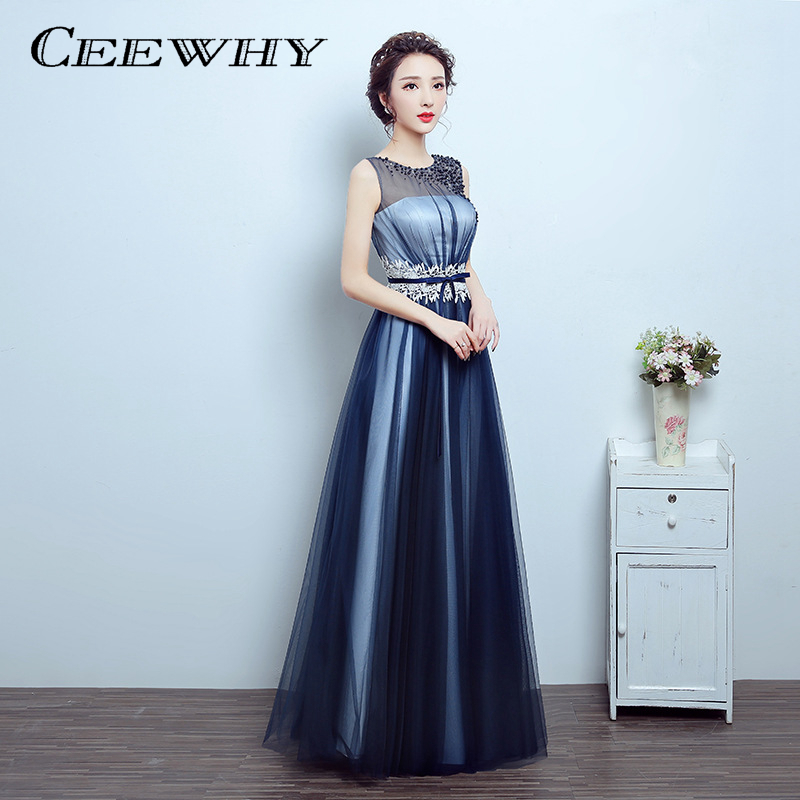 ceewhy navy blue beading a line luxury long evening dress 2017 prom wedding party dress