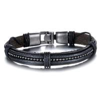 Fashion Punk Leather Weaved Man Wrap Bracelets New Personality Men Jewelry Gift Cool Design PH886