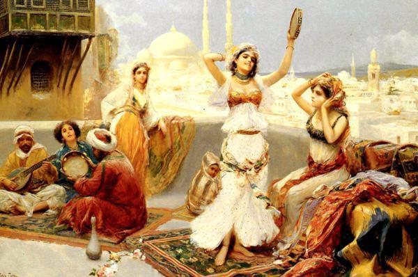 free shipping classical arab girl tambourine dance scenery oil ...