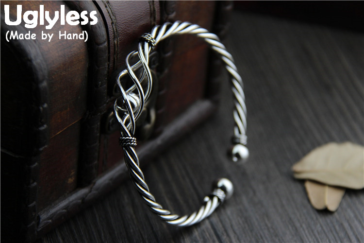 Uglyless Real S925 Sterling Thai Silver Women Exaggerated Hollow Bangles Twisted Weave Texture Jewelry Cool Removing Ball BangleUglyless Real S925 Sterling Thai Silver Women Exaggerated Hollow Bangles Twisted Weave Texture Jewelry Cool Removing Ball Bangle
