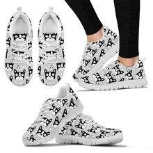 8cbea15620ec8 Instantarts الفرنسية بلدغ رياضة المرأة الاحذية حيوان لطيف الكلب طباعة  المرأة أنثى سيدة فتاة الأحذية الرياضية