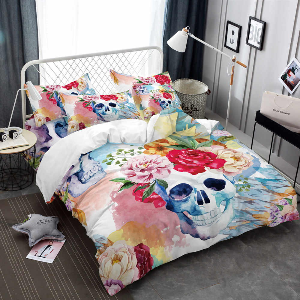 Africa Tribe Style Colorful Skull Bed Linen Textile Bedding Set Duvet Cover Set Pillowcases Quilt Cover Back White Cushion Cover