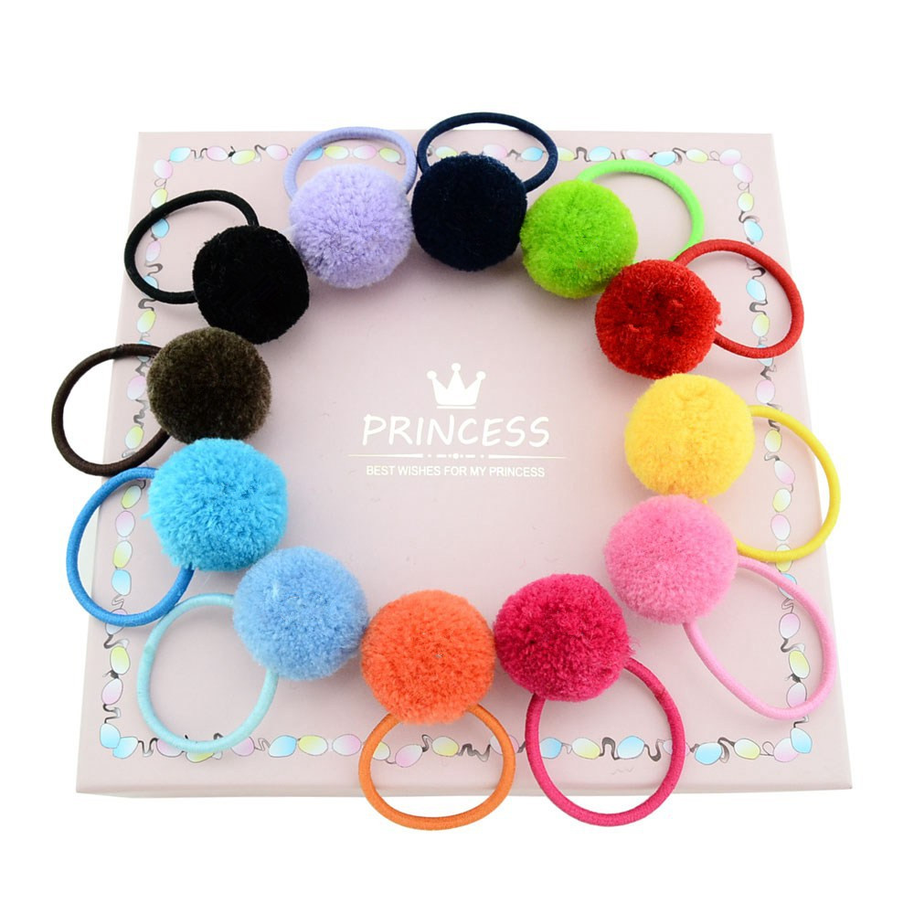 72dc6688e2e 12pcs Ball Stretch Elastic Hair Tie Rope Ring Band Ponytail Holder Headbands  Accessories for Baby Toddler Girls Kids Children
